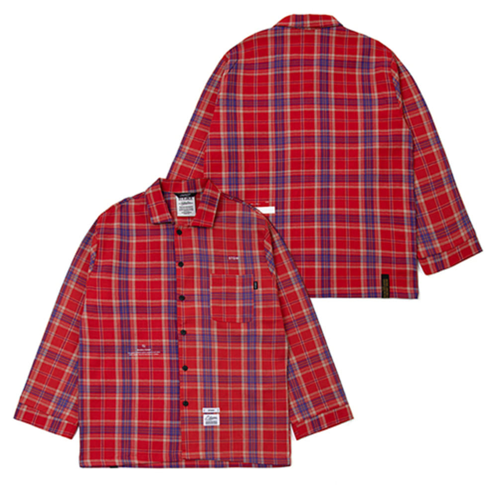[스티그마]CHECK PAJAMA OVERSIZED SHIRTS - RED