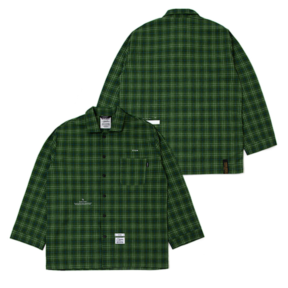 [스티그마]CHECK PAJAMA OVERSIZED SHIRTS - GREEN