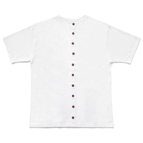 [EASY BUSY] Back Button T-Shirts - White