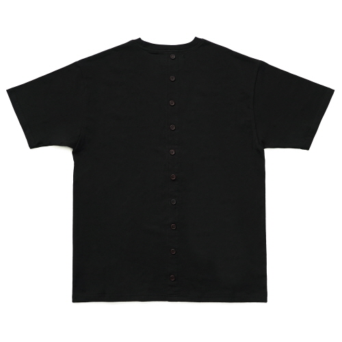 [EASY BUSY] Back Button T-Shirts - Black