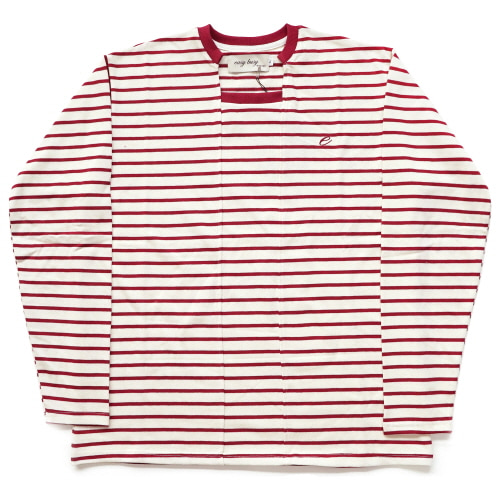 [EASY BUSY] Unbalance Stripe Sleave - Red